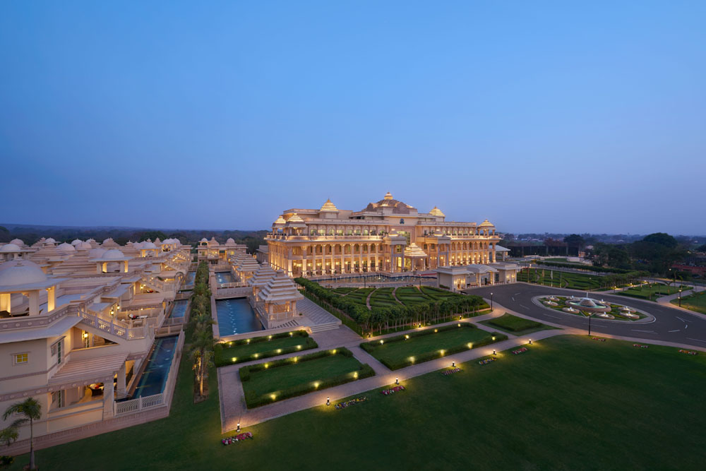 A bird's eye view of the majestic ITC Grand Bharat.