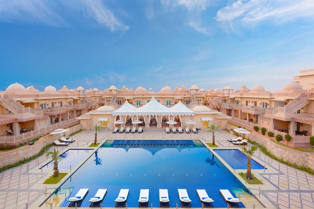 The hotel's striking blue pool.