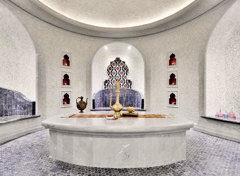 Inside one of the resort's intricately made spa rooms.