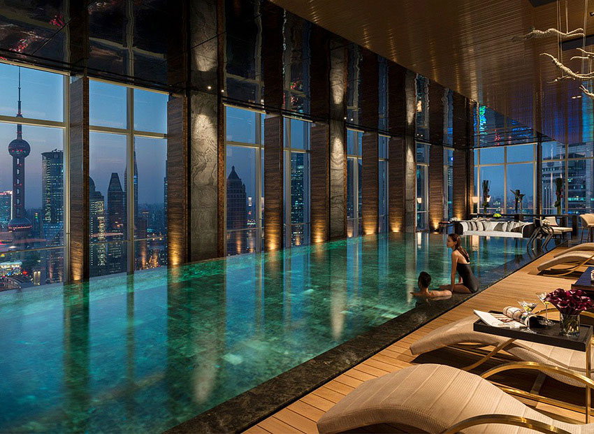 The hotel's pool spans 18 meters and overlooks the Shanghai skyline.