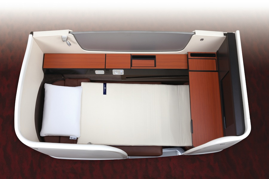 Airweave mattresses come in soft and firm options to top the fully-flat First Class JAL Sky Suite 777 seats.