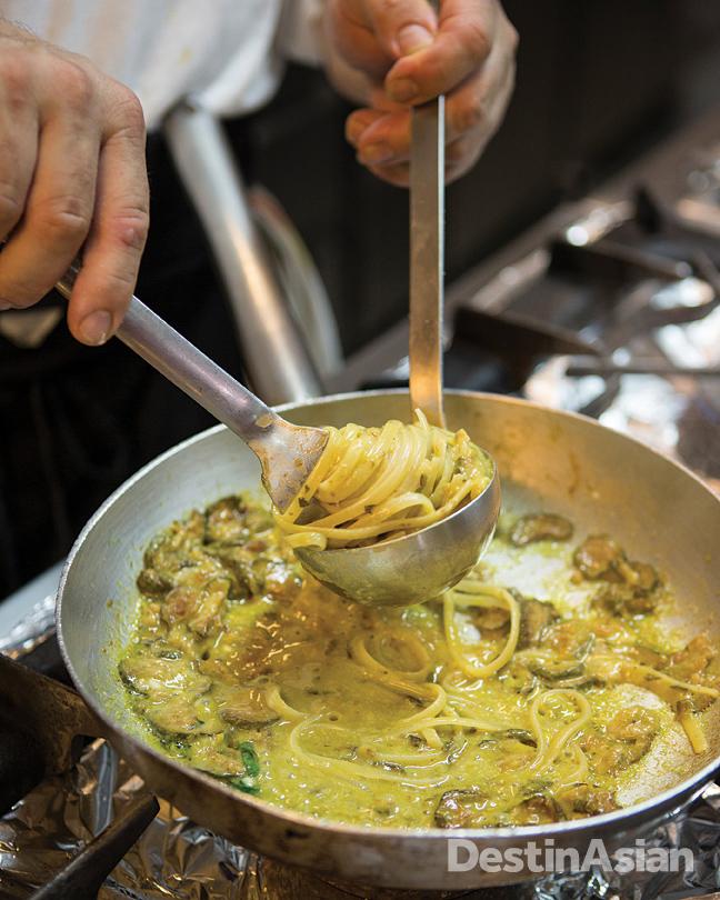 A pasta demonstration in the kitchen at Capri's Ristorante Villa Verde.