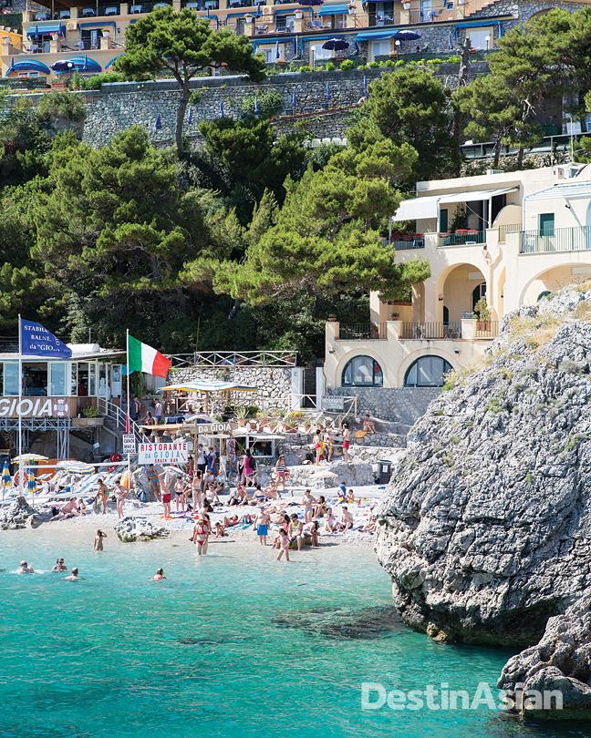 Beachgoers at Capri's Piccola Marina.