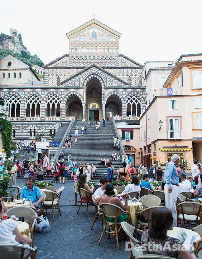 Amalfi's 12th-century cathedral looms over the cafe-lined Piazza del Duomo.