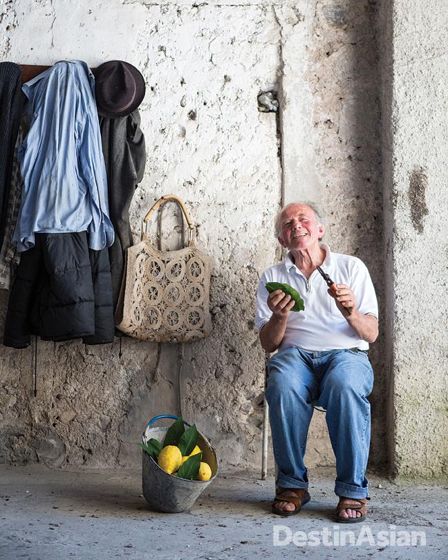 Luigi Aceto at his lemon farm in Amalfi's Valle dei Mulini.