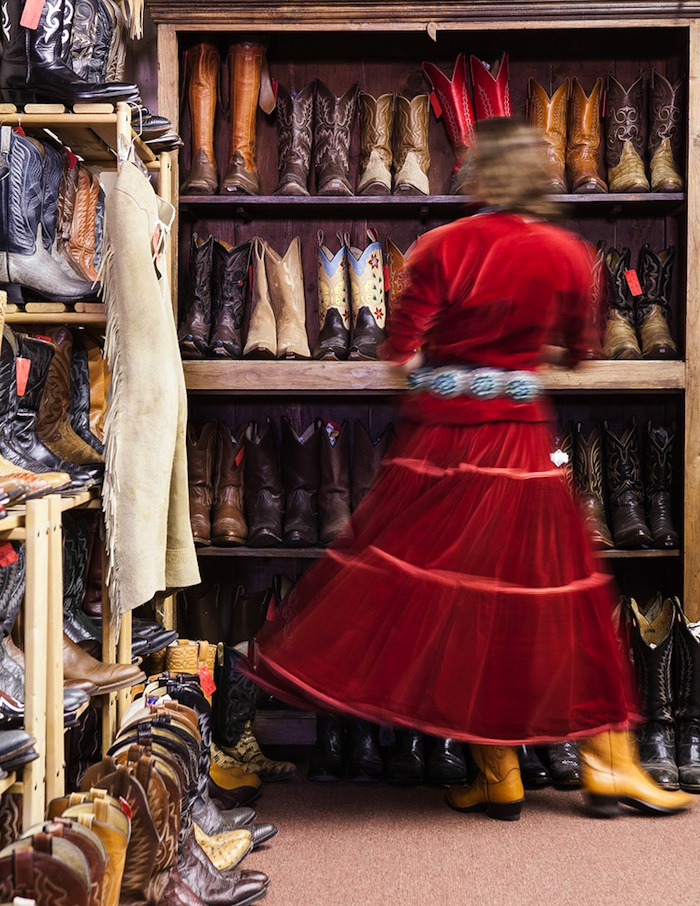 Boots galore at a downtown consignment store Double Take.