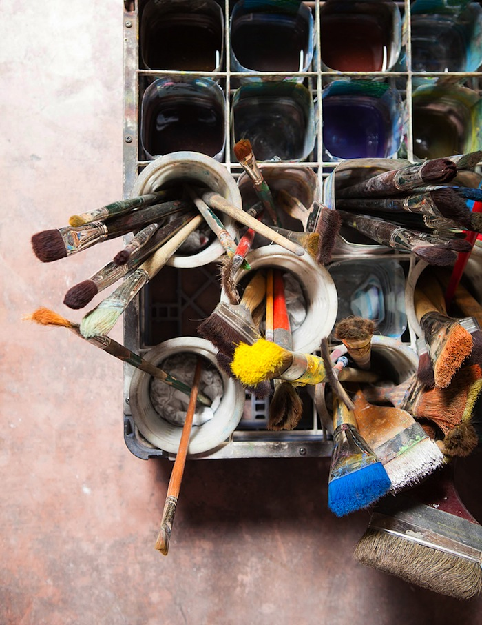 Tools of the trade for New Mexican fresco artist Frederico Vigil.