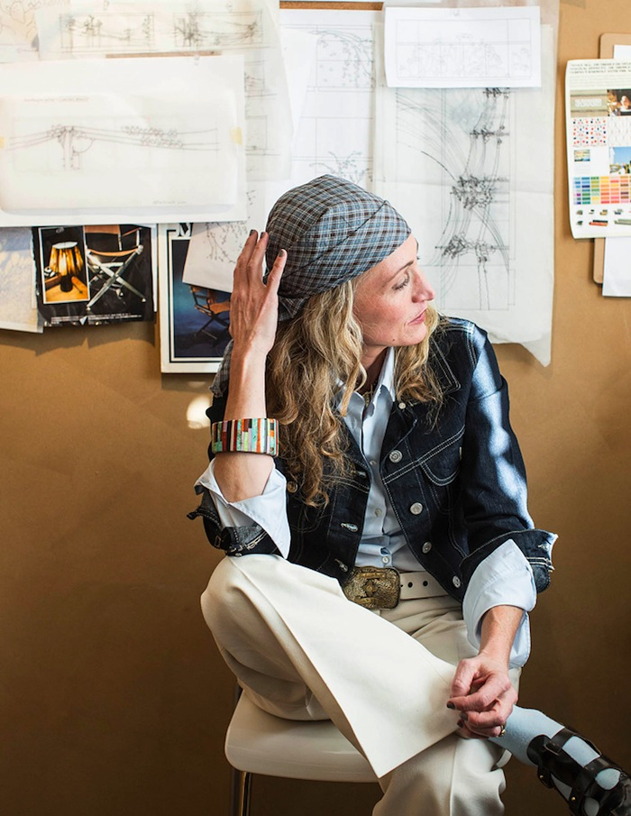 Furniture-maker Emily Henry amid design sketches at her downtown office.