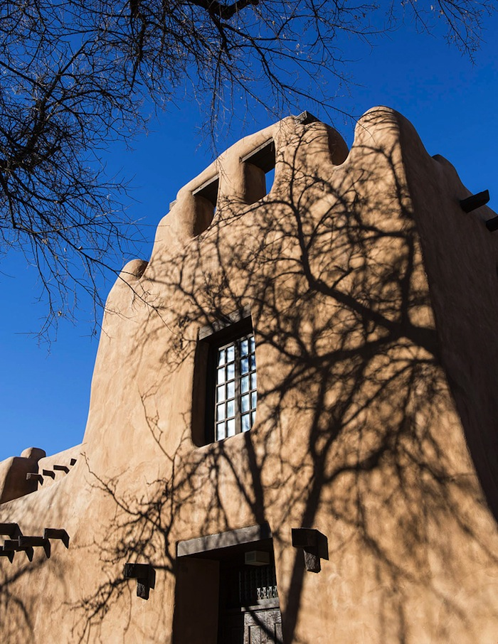 Adobe architecture at the New Mexico Museum of Art.
