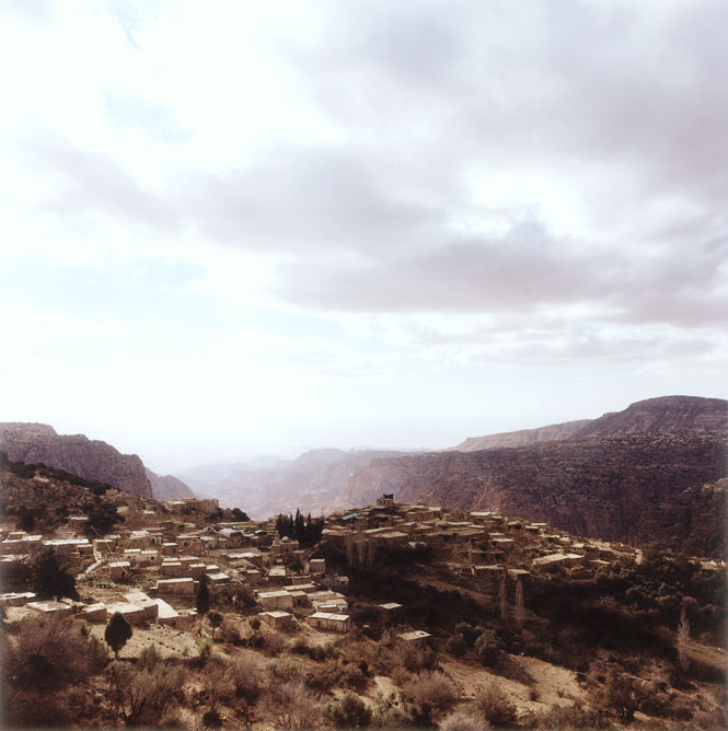 The ancient cliff-top village of Dana, on the edge of the reserve of the same name.