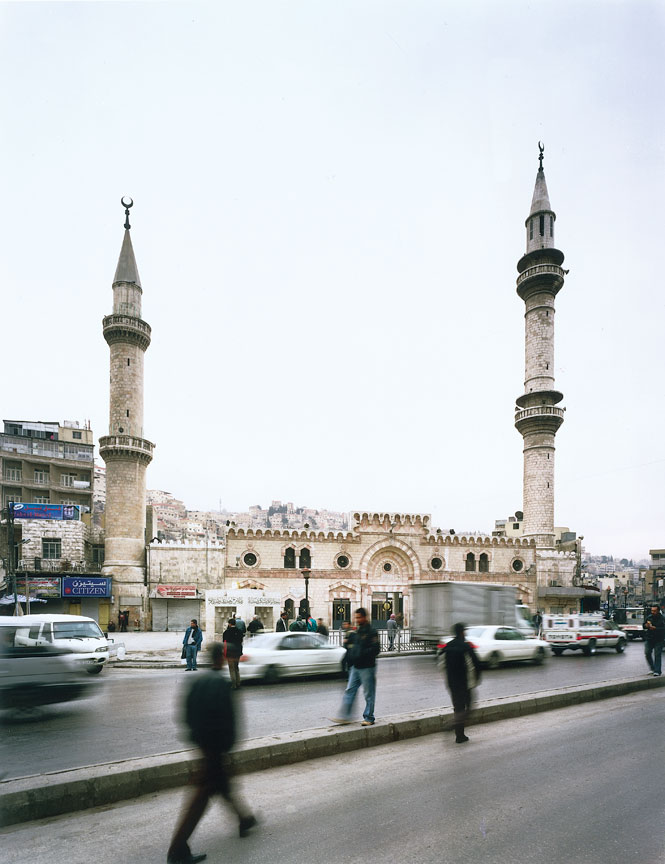 The Ottoman-style al-Husseini mosque, a cream-and-pink landmark in the heart of downtown Amman.