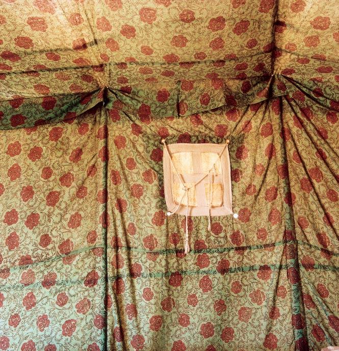 Inside a tent at Bait Ali, a tourist camp in Wadi Rum.