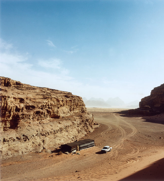 Driving into a Wadi Rum encampment.
