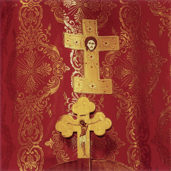 An altar cloth in the 19th-century Greek Orthodox church of St. George's, Madaba.