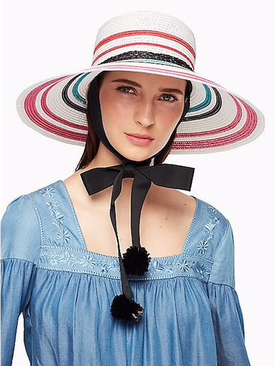 Kate Spade's multi-colored hat.