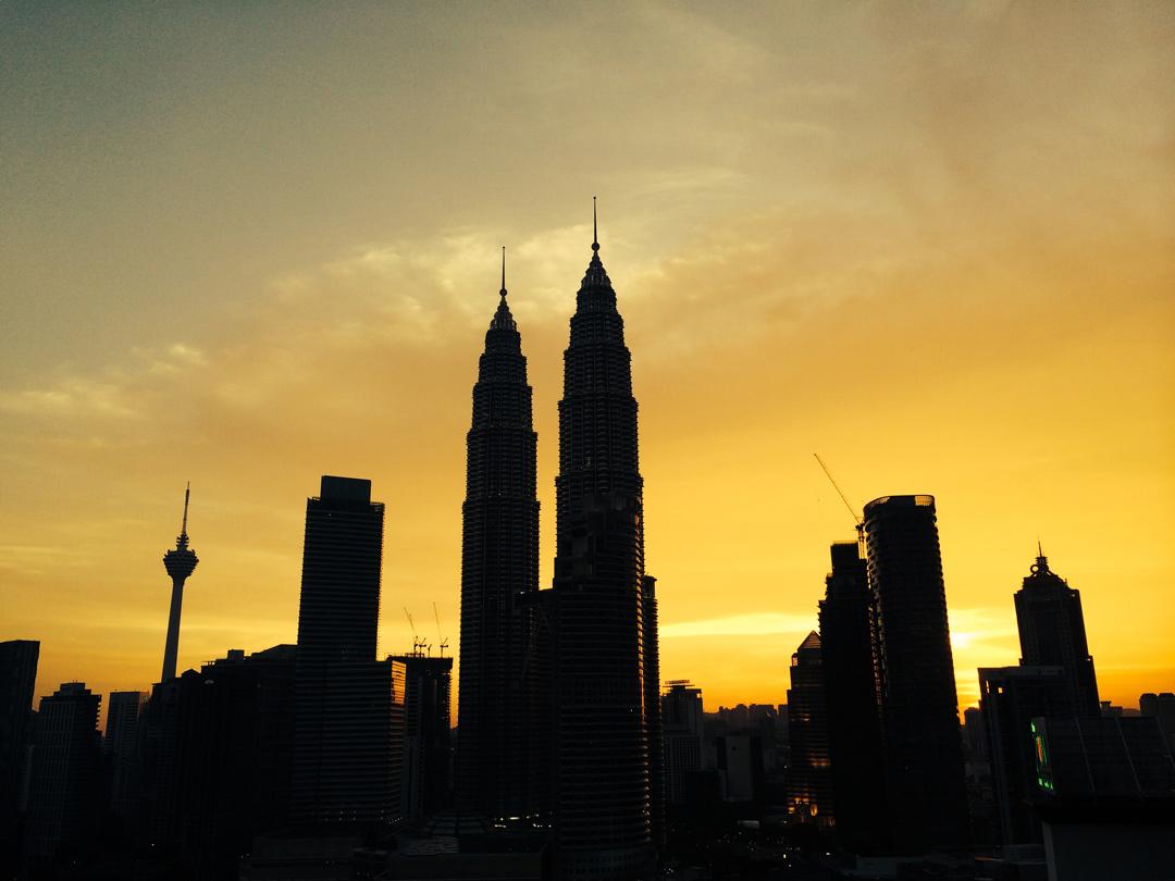 Kuala Lumpur's glittering skyline.