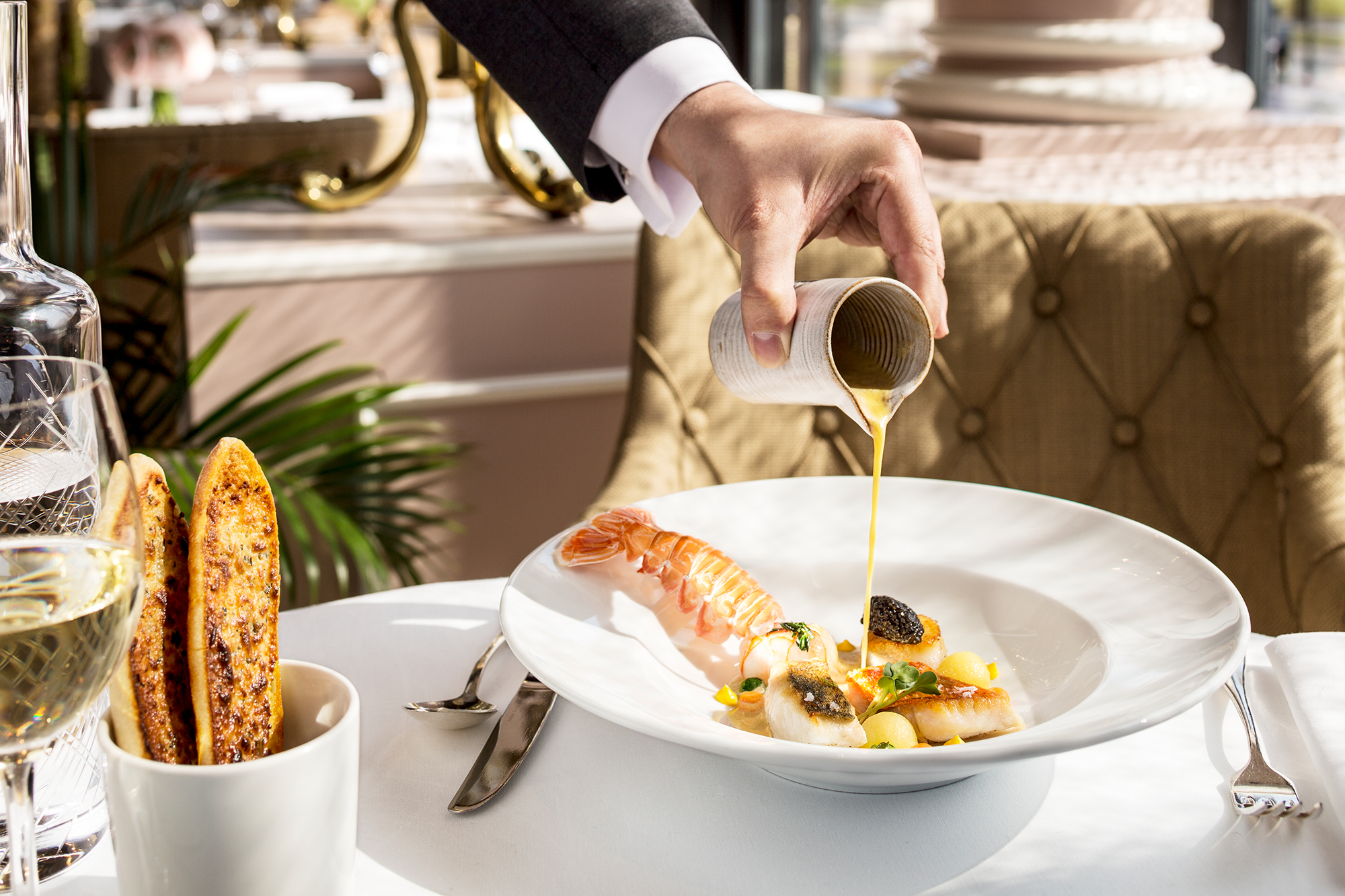 Mediterranean-inspired fare at the Victoria-Jungfrau Grand Hotel's La Terrasse restaurant.