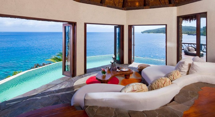 Every villa comes with its own private infinity pool.