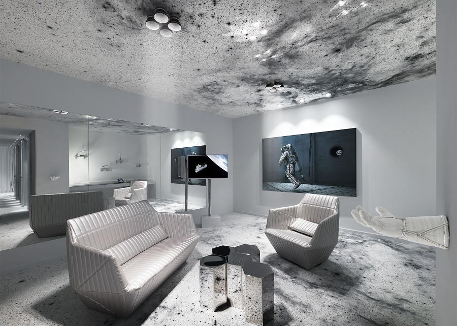 Every corner of the suite is adorned with futuristic space-themed furniture and entertainment options. (Photo: Michael Najjar)