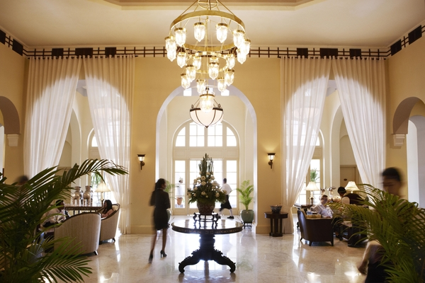 The lobby of the historic Raffles Hotel Le Royal.