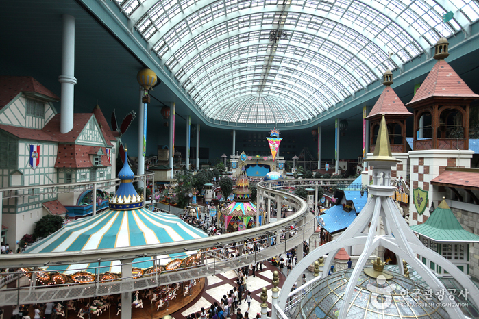 Inside the indoor theme park.