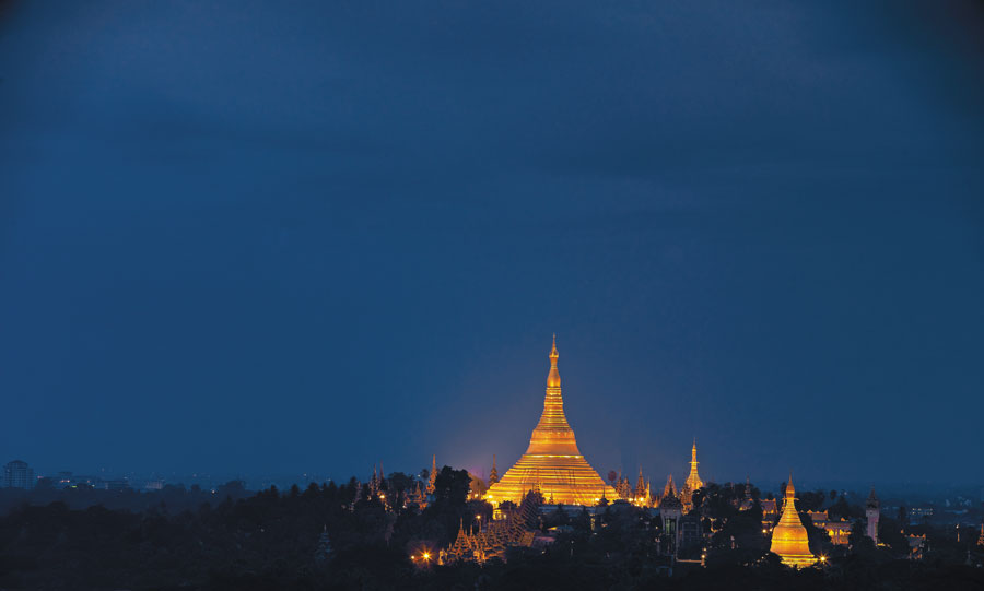 A view of the Shwedagon Pagoda from the executive lounge.