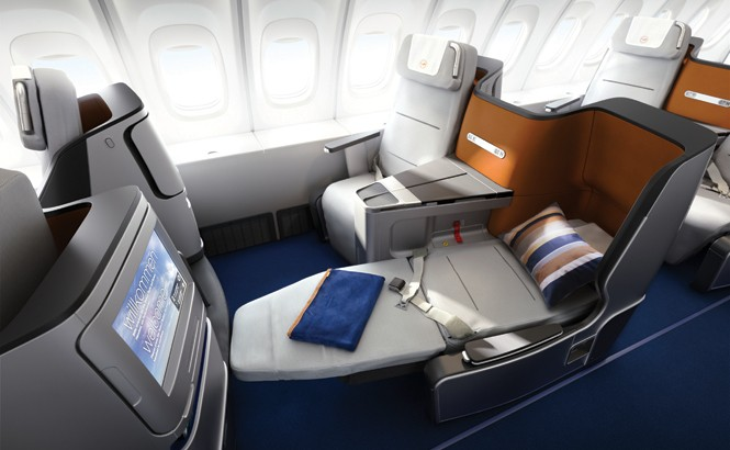 Lufthansa's fully flat seats are angled toward each other in pairs.