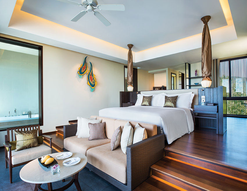 The decor at Vana Belle features soothing earth tones and folksy Thai art.