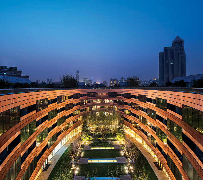 The hotel's facade is clad in 20,000 imported terra-cotta bricks.