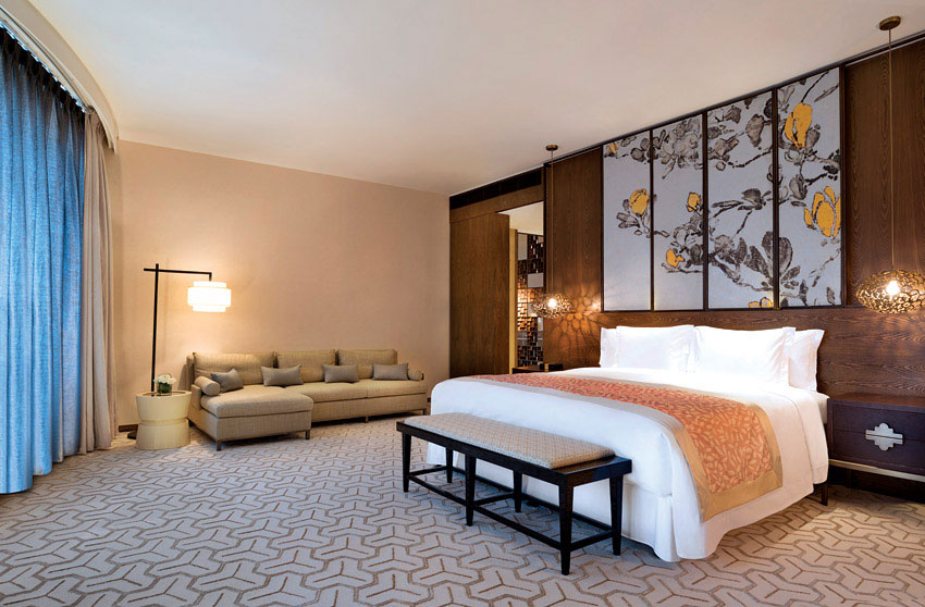 A suite bedroom at the Twelve at Hengshan.