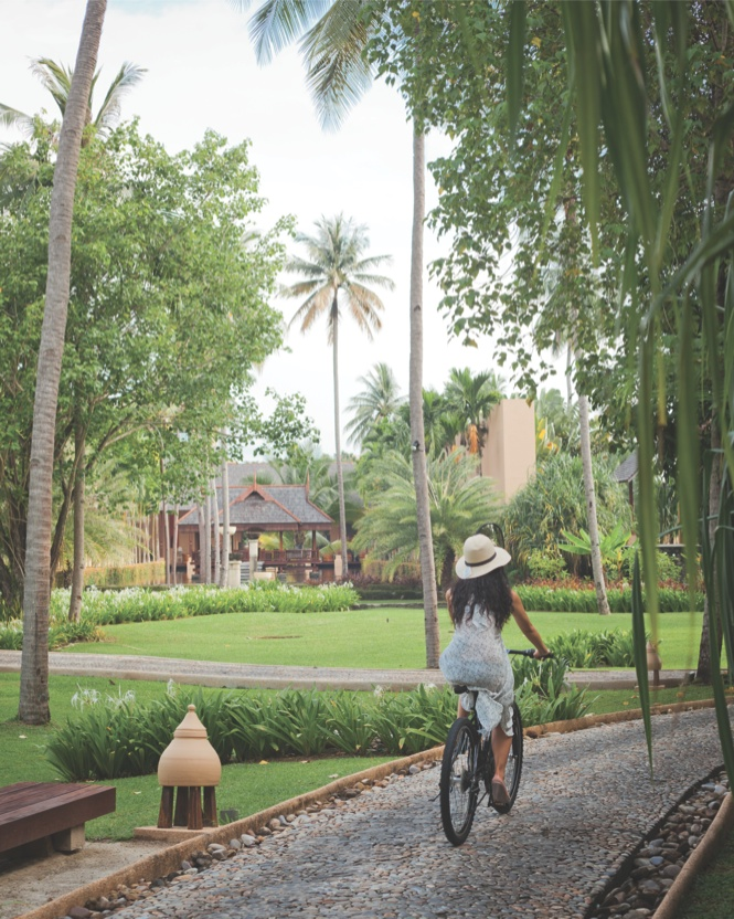 Cycling through the lush grounds of the Four Seasons.