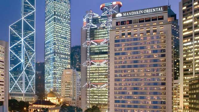The Mandarin Oriental Hotel in Hong Kong.
