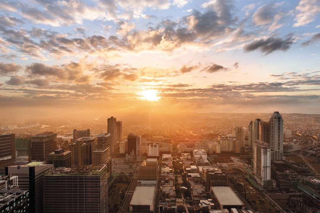 Sunrise over Bonifacio Global City, as seen from the new Shangri-La.