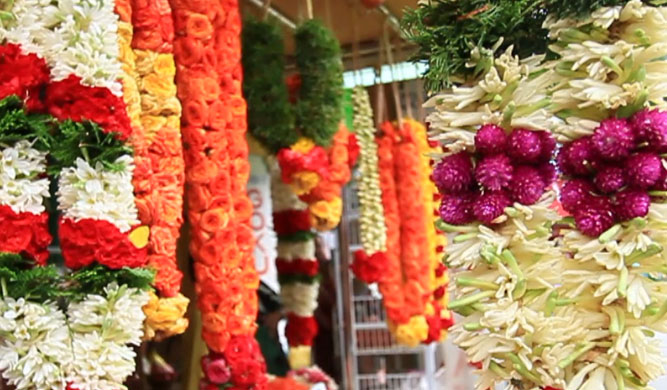 Flowers at a market in Singapore's Little India.
