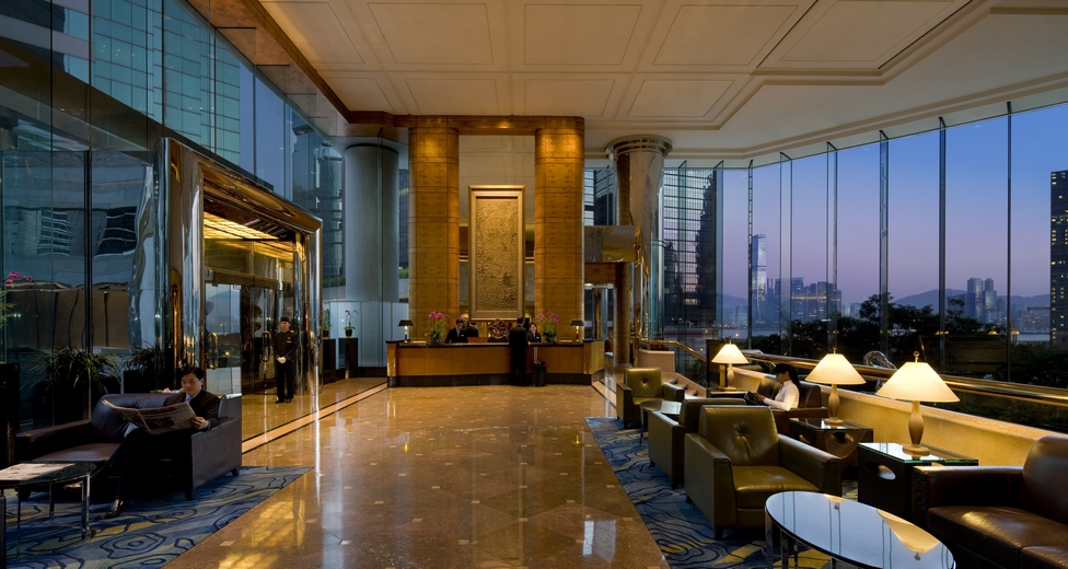 The lobby of the hotel affords views of the city.