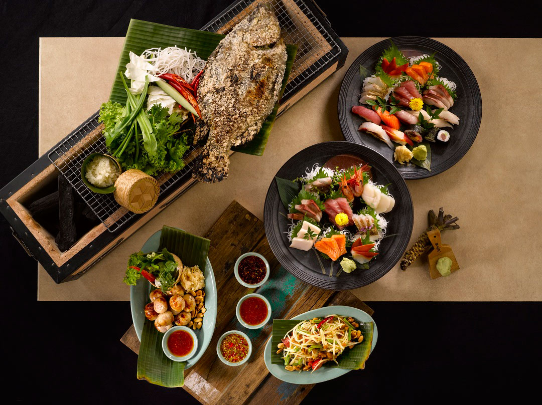 Diners at mezza9 can order both sushi and Thai cuisine.