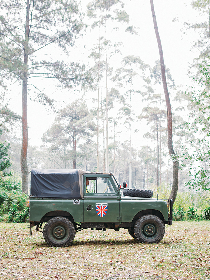 Getting around the coffee-growing highlands is best done in Klasik Beans' Land Rover.