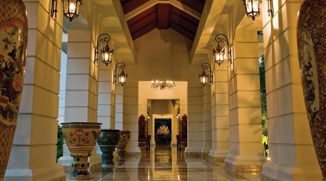 An artful corridor at the MGallery Phoenix Yogyakarta hotel.