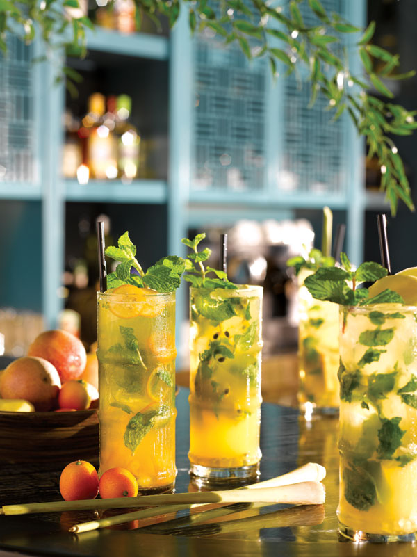 Five mojitos are available on the menu from kumquat to ginger.