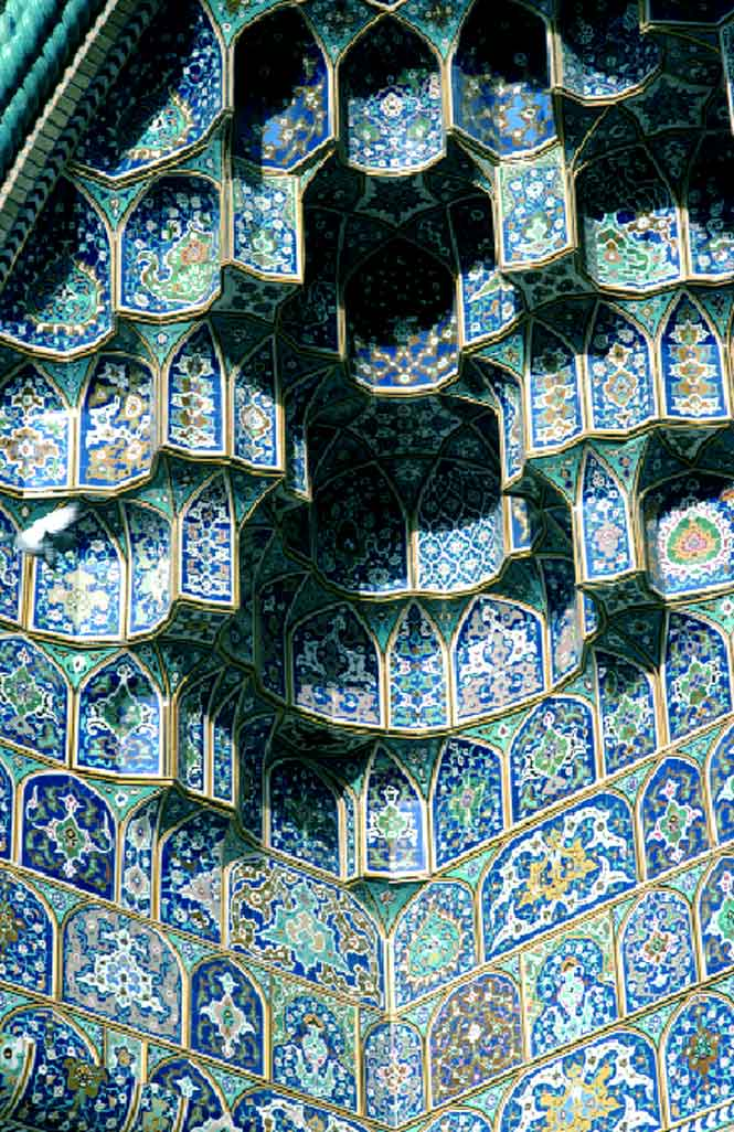 An intricate mosque archway in Shiraz.