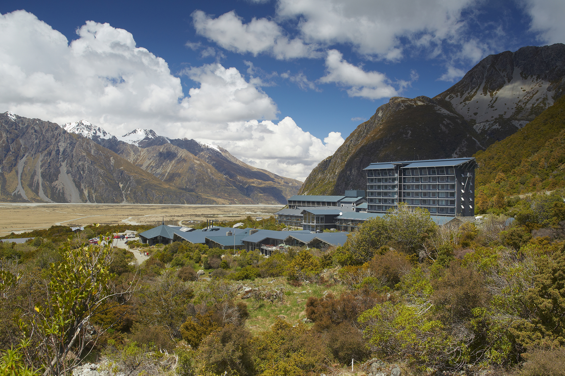 The Hermitage, situated amid the alpine splendor of Aoraki Mount Cook National Park.