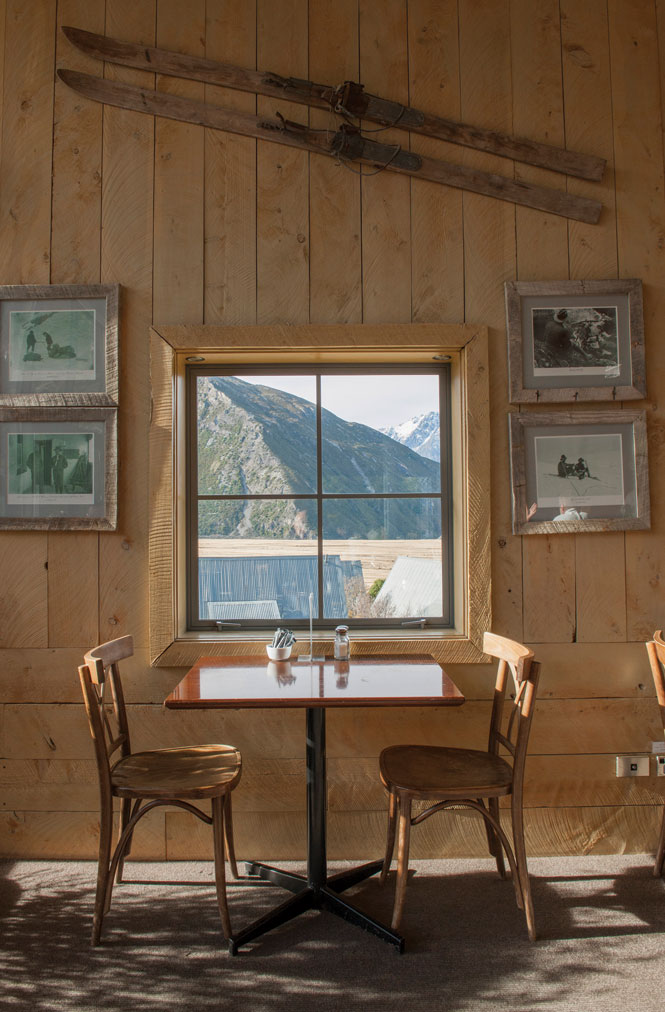Alpine memorabilia covers the walls of the Old mountaineers Café in mount Cook Village.