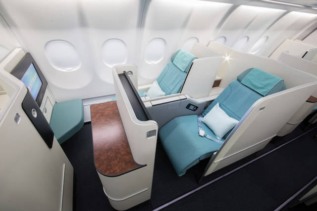 Staggered seating allows window passengers to pass into the aisle without disturbing aisle passengers.