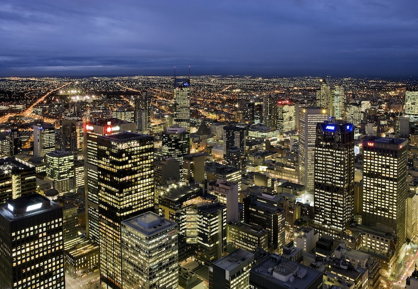 A view of Melbourne's central business district from Vue de Monde.