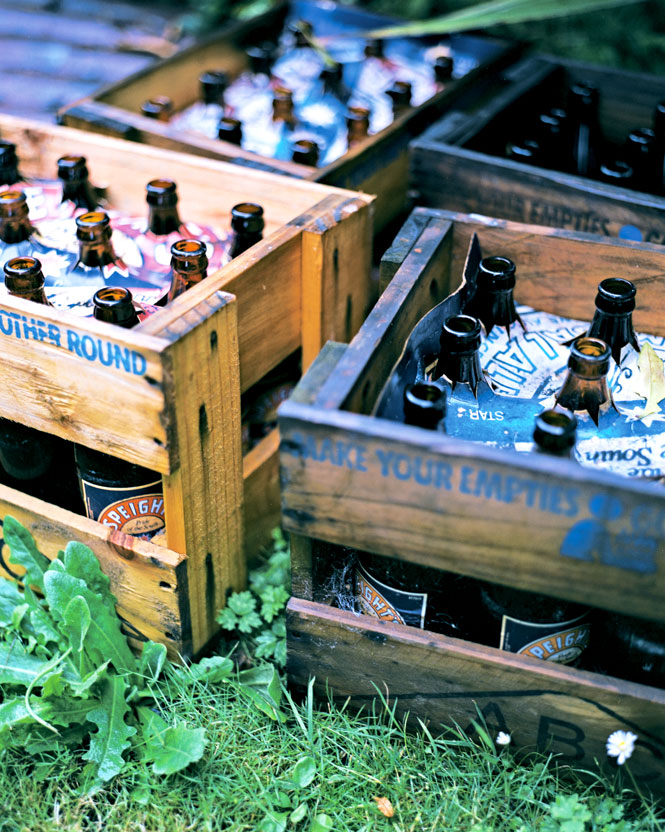 Crates of empty beer bottles.