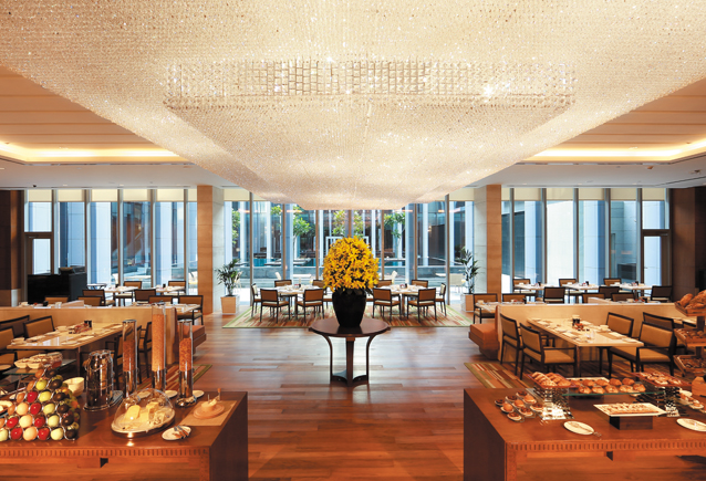 NINE7ONE, the all-day dining space at the Oberoi Dubai.