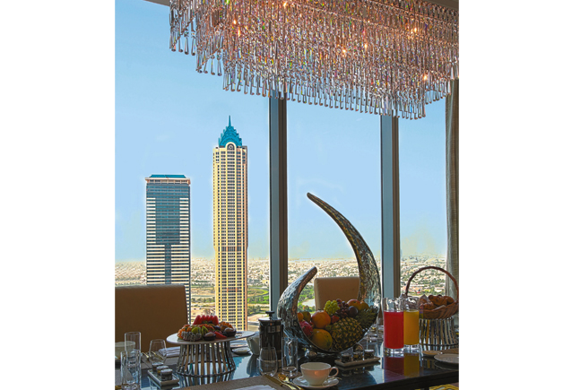 A view of Dubai from the Presidential Suite.