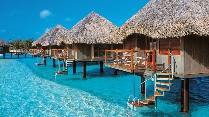Overwater bungalows at the Le Meridien Bora Bora