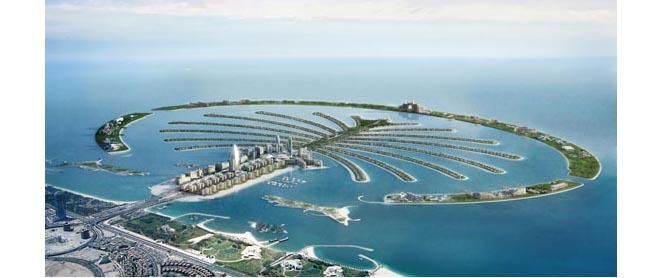 An aerial shot of Palm Jumeirah Island.