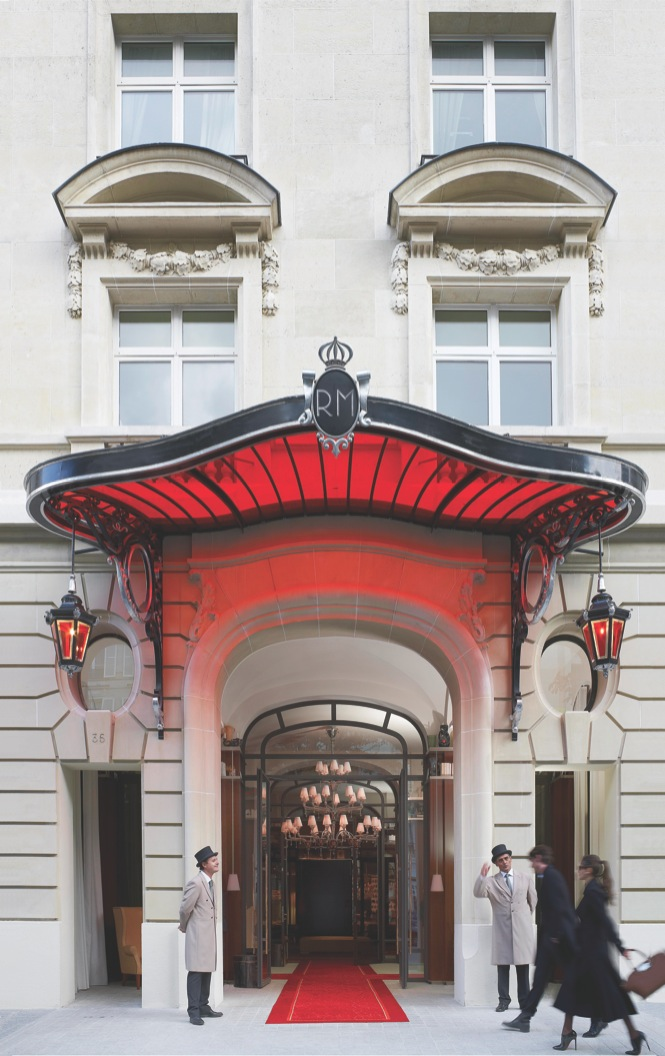 Outside Le Royal Monceau-Raffles, a historic property overhauled by Philippe Starck.